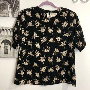 Vintage 90s rose print short sleeve blouse